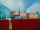 Red Wall - Distant City oil on canvas 45cm x 35cm